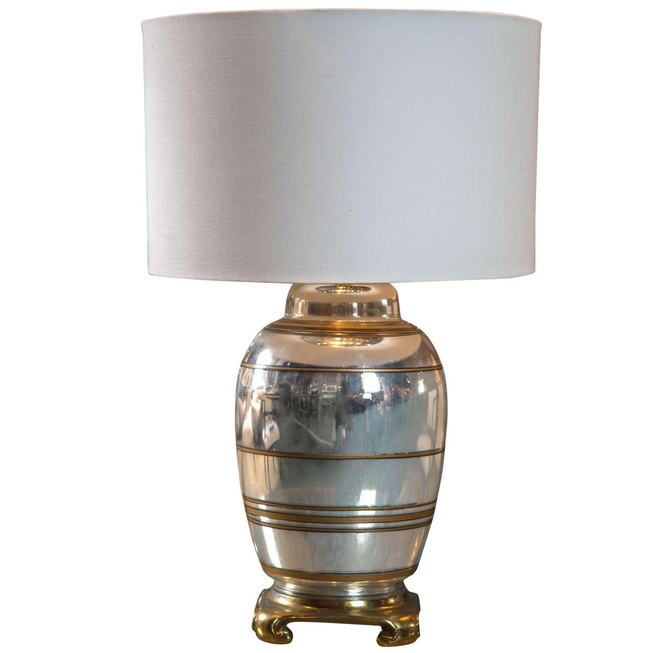 French Mercury Glass Lamp