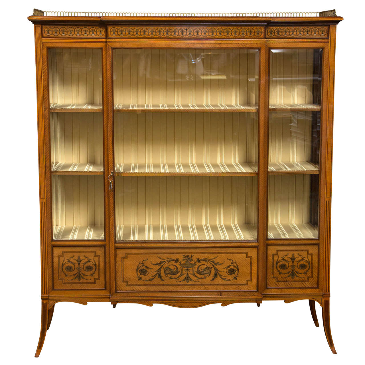 Satinwood Edwardian Cabinet by Edwards and Roberts For