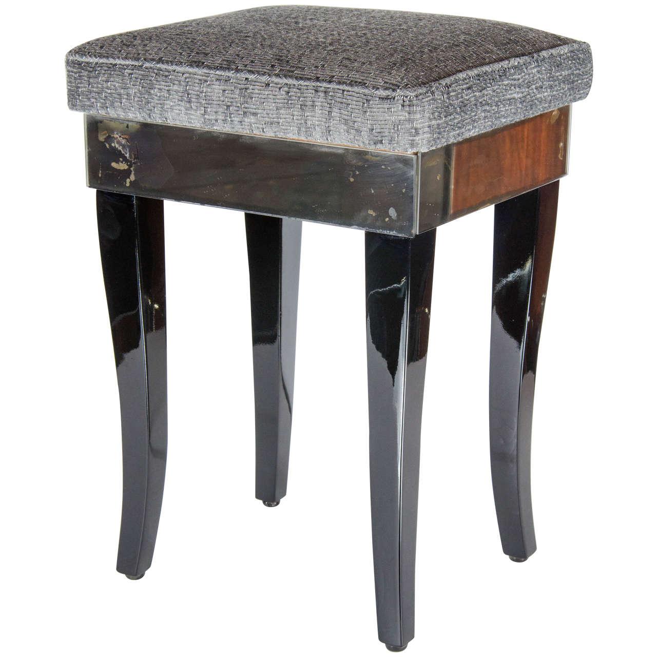 Elegant 1940s hollywood smoked mirror vanity stool at 1stdibs - Elegant vanity stools ...