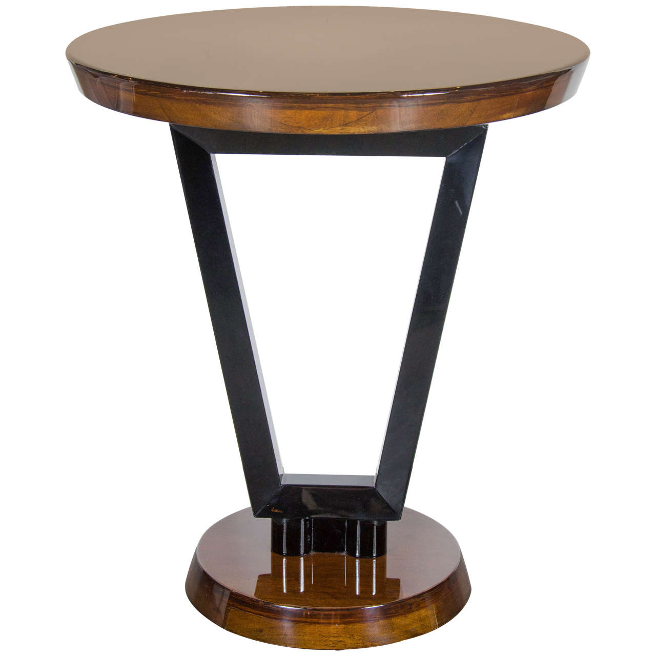 Art deco streamlined occasional or side table in black for Occasional tables
