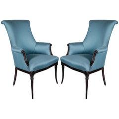 Elegant Pair of Hollywood Regency Scroll Back Armchairs by Grosfeld House