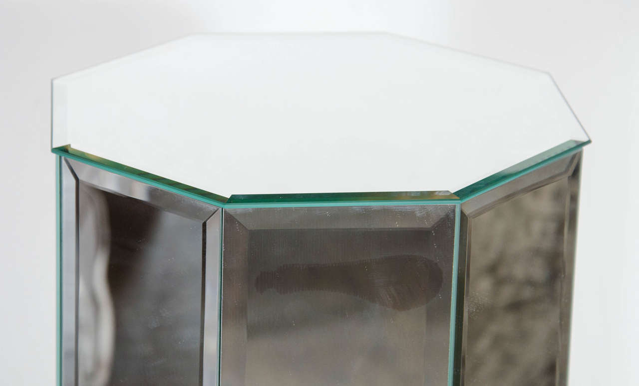 Luxe midcentury octagon shaped beveled mirror pedestal at for Octagon beveled mirror