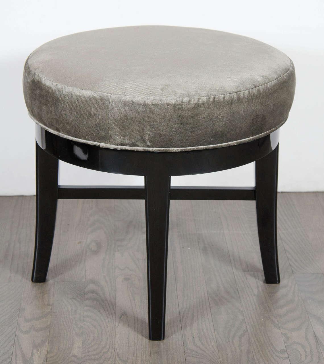 Mid Century Modernist Round Swivel Vanity Stool With X