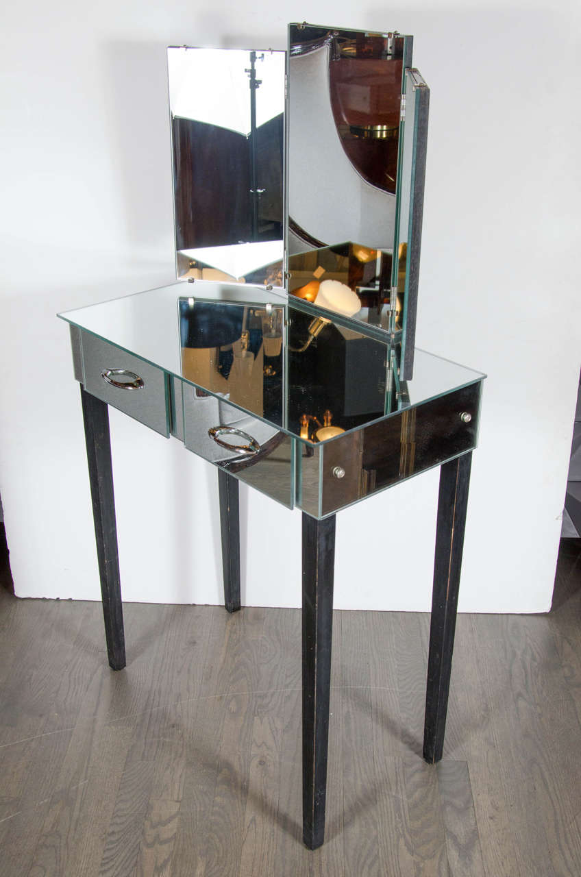 Gorgeous 1940s Mirrored Vanity With Tri Fold Mirror At 1stdibs