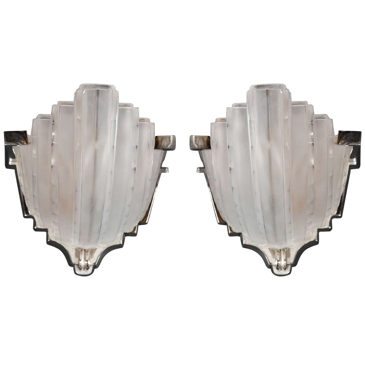 pair of art deco skyscraper style frosted glass sconces by sabino  - pair of art deco skyscraper style frosted glass sconces by sabino