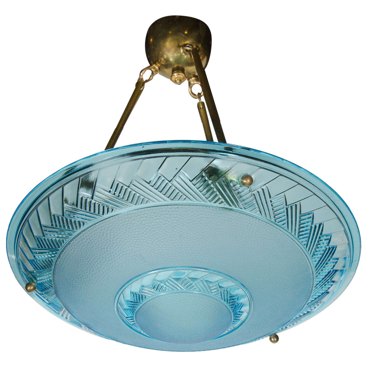 Art deco flush mount chandelier in blue glass by degue at 1stdibs art deco flush mount chandelier in blue glass by degue 1 arubaitofo Choice Image