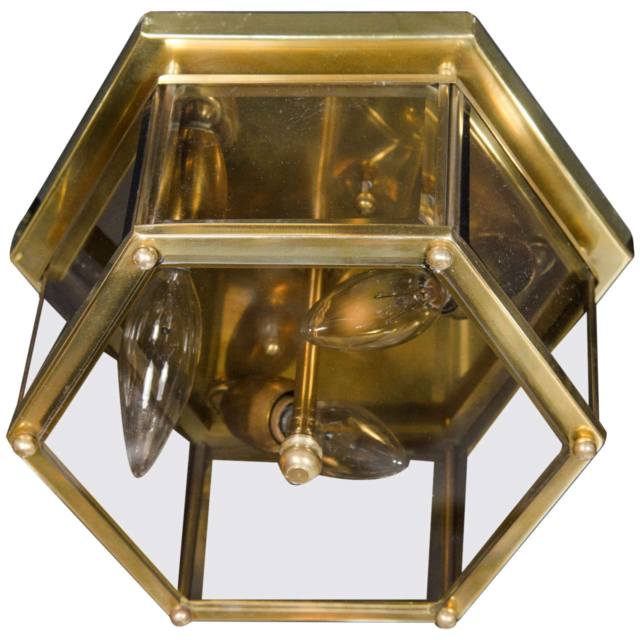 Mid-Century Modernist Hexagonal Flush Mount Chandelier in Brass and Glass For Sale