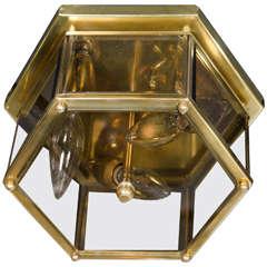 Mid-Century Modernist Hexagonal Flush Mount Chandelier in Brass and Glass