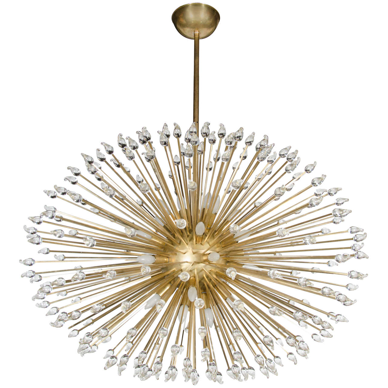 mid century modern sputnik chandelier with handblown murano glass teardrops at 1stdibs. Black Bedroom Furniture Sets. Home Design Ideas