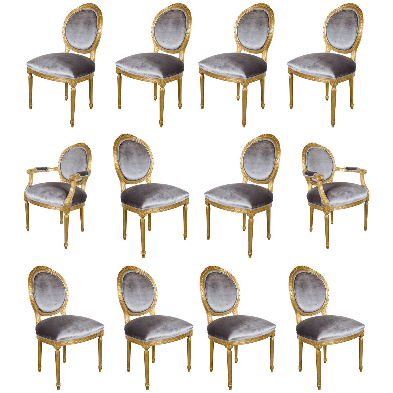 Awesome Set Of 12 Louis XIV Style Hand Carved 24 Karat Gilded Dining Chairs For