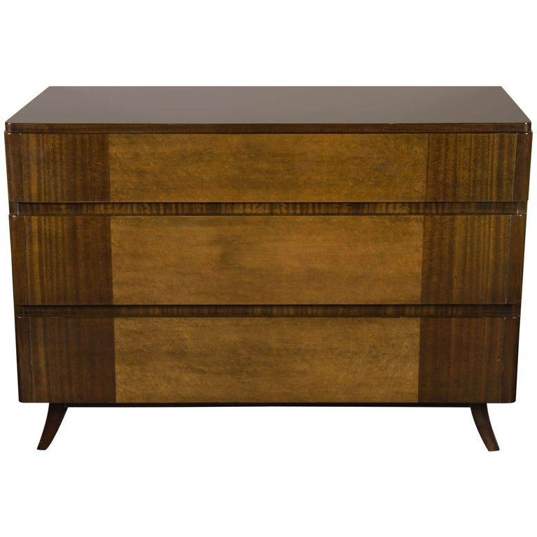 Art Deco Chest in Bookmatched Mahogany and Exotic Elm, Manner of Eliel Saarinen For Sale