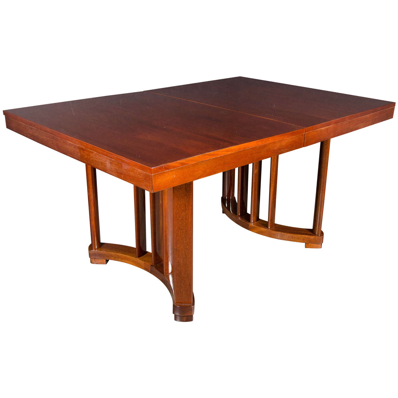 Art Deco Extension Dining Table in Mahogany with Opposing Arc Form Base