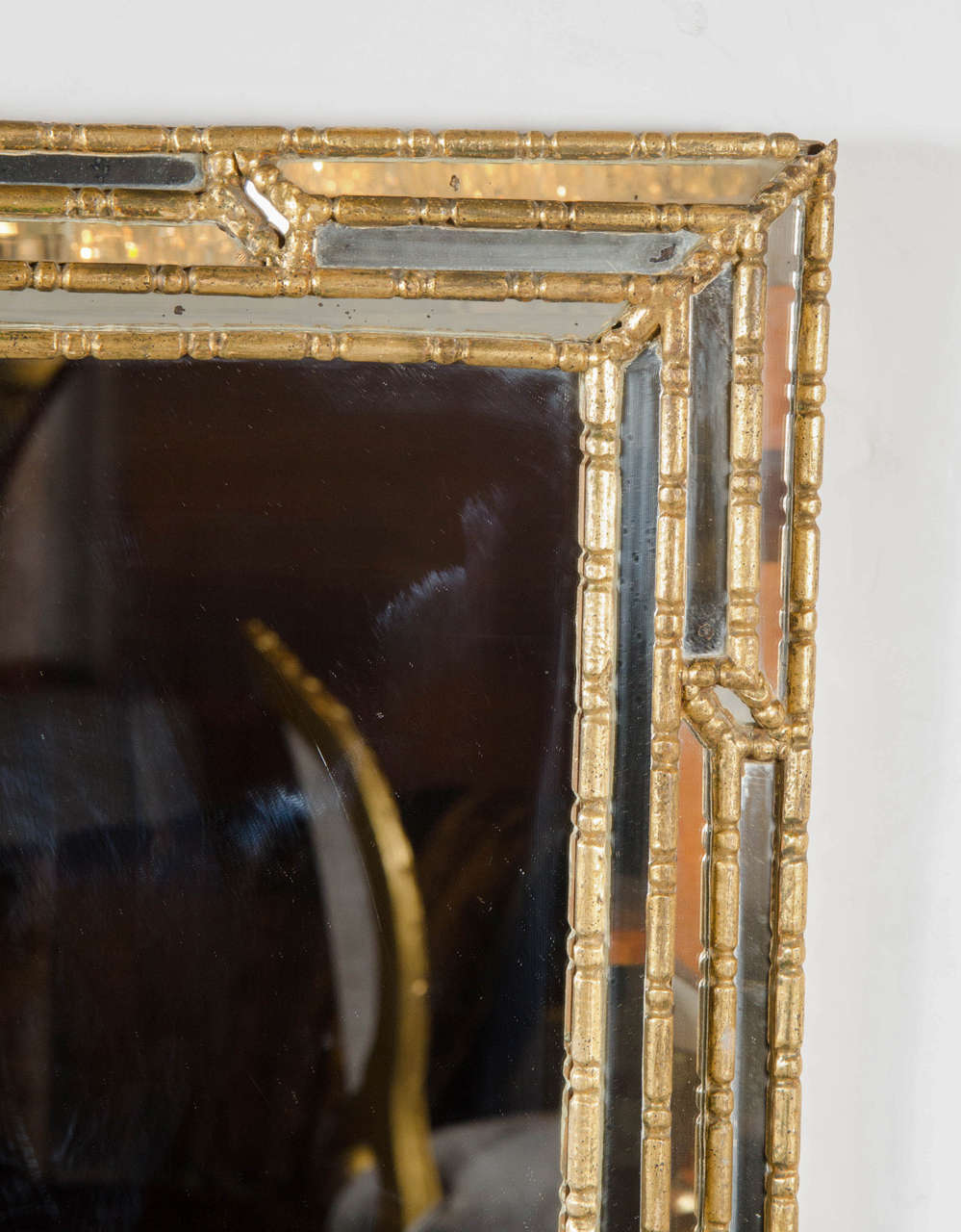 midcentury modern mirror with gilt geometric stylized bamboo, Home decor