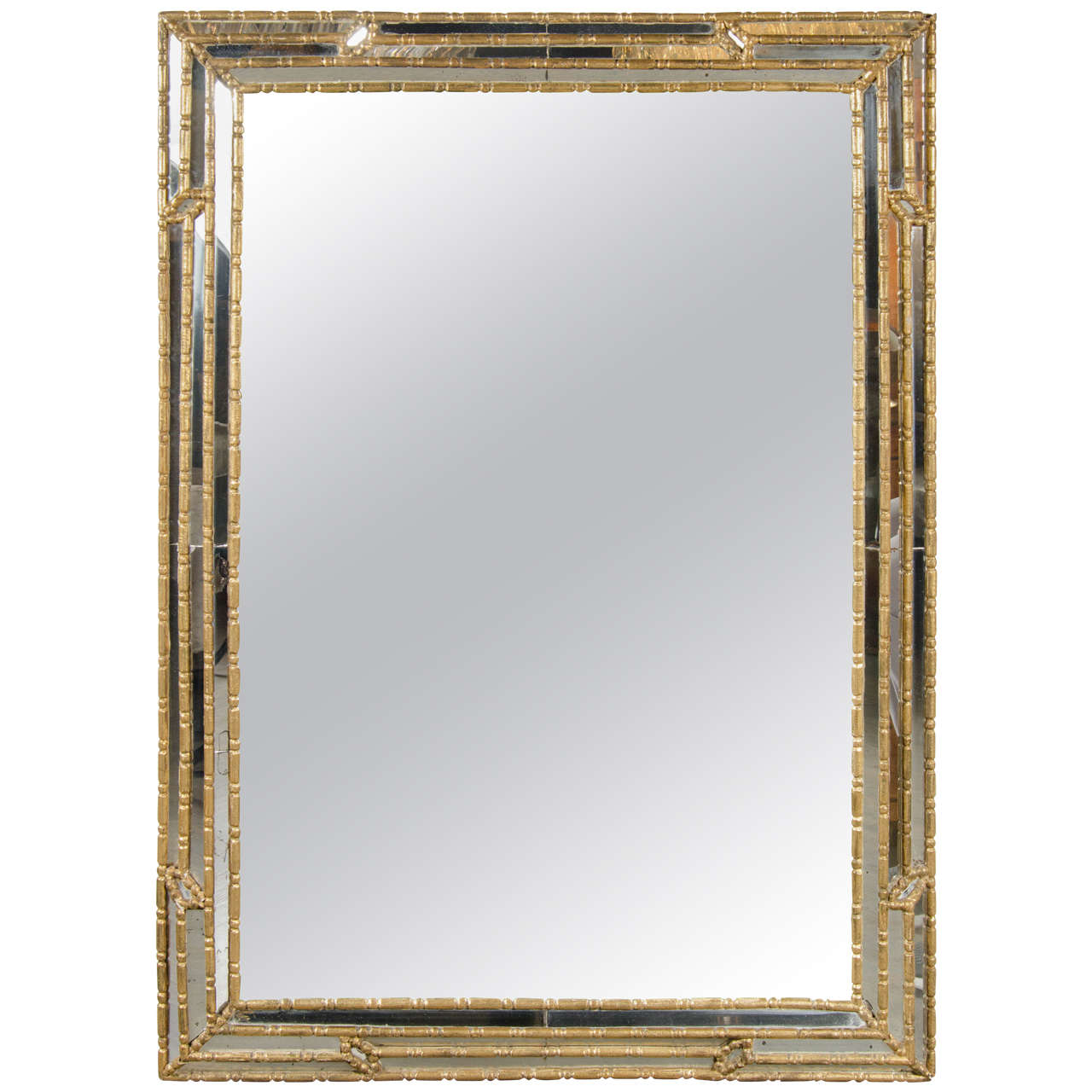Mid century modern mirror with gilt geometric stylized for Modern mirrors