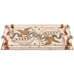 Exquisite Art Deco Eglomise Copper Mirrored Tray