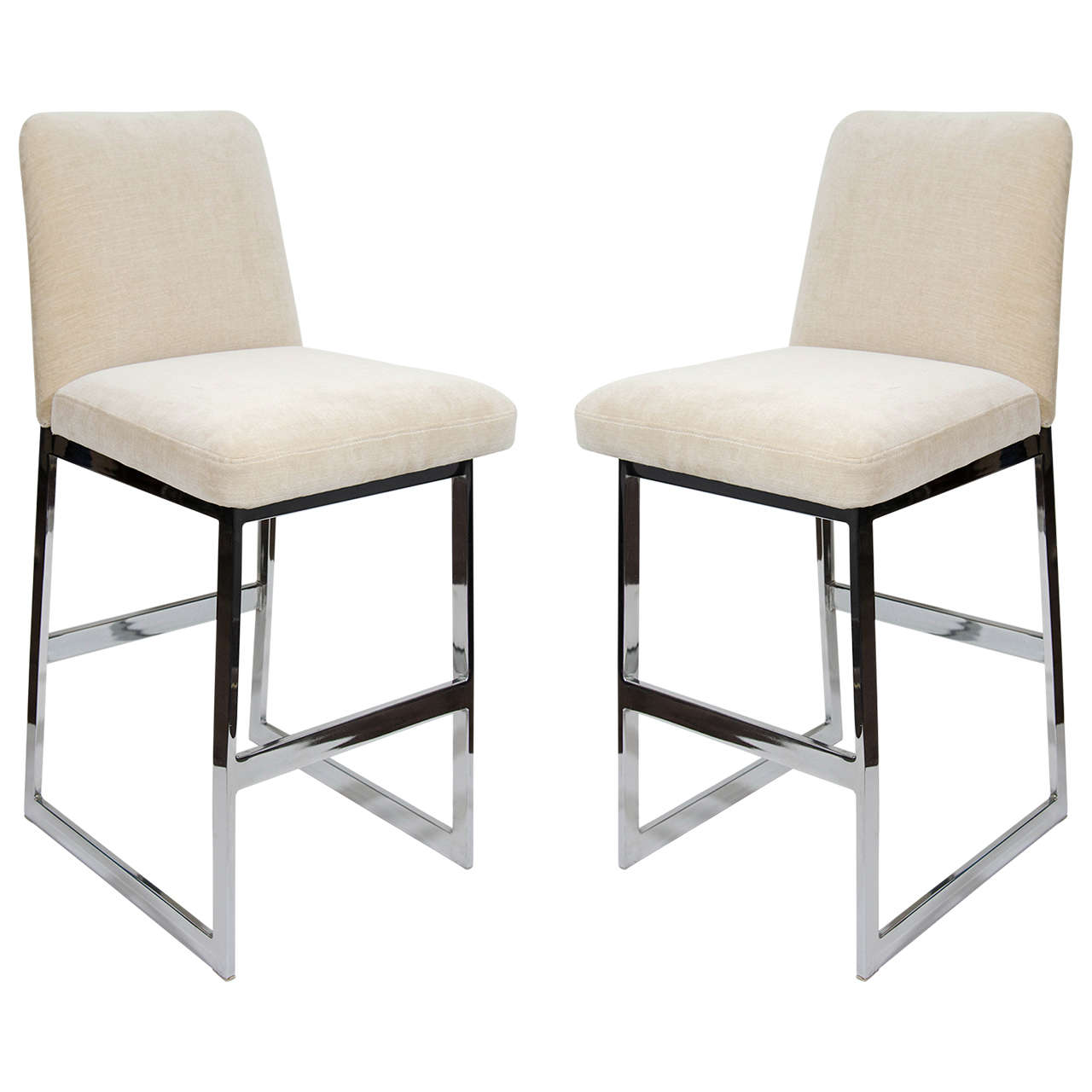 Pair Of Luxe Mid Century Modern Upholstered Counter Stools