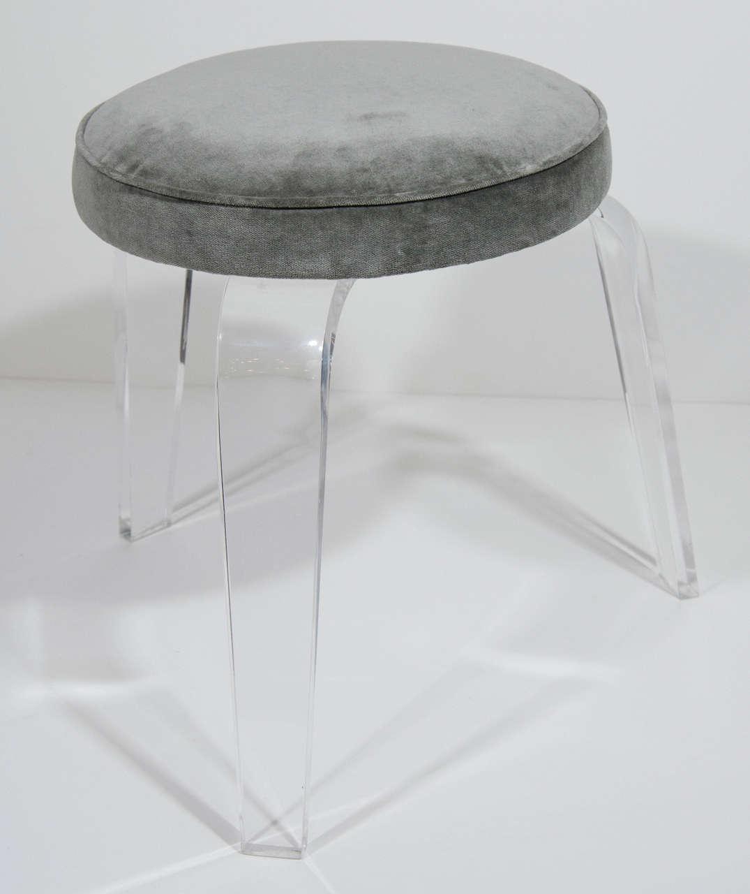 ultra modern lucite and velvet vanity stool with tripod