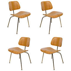 Set of Four Iconic Modernist Bentwood Chairs Designed by Eames for Herman Miller