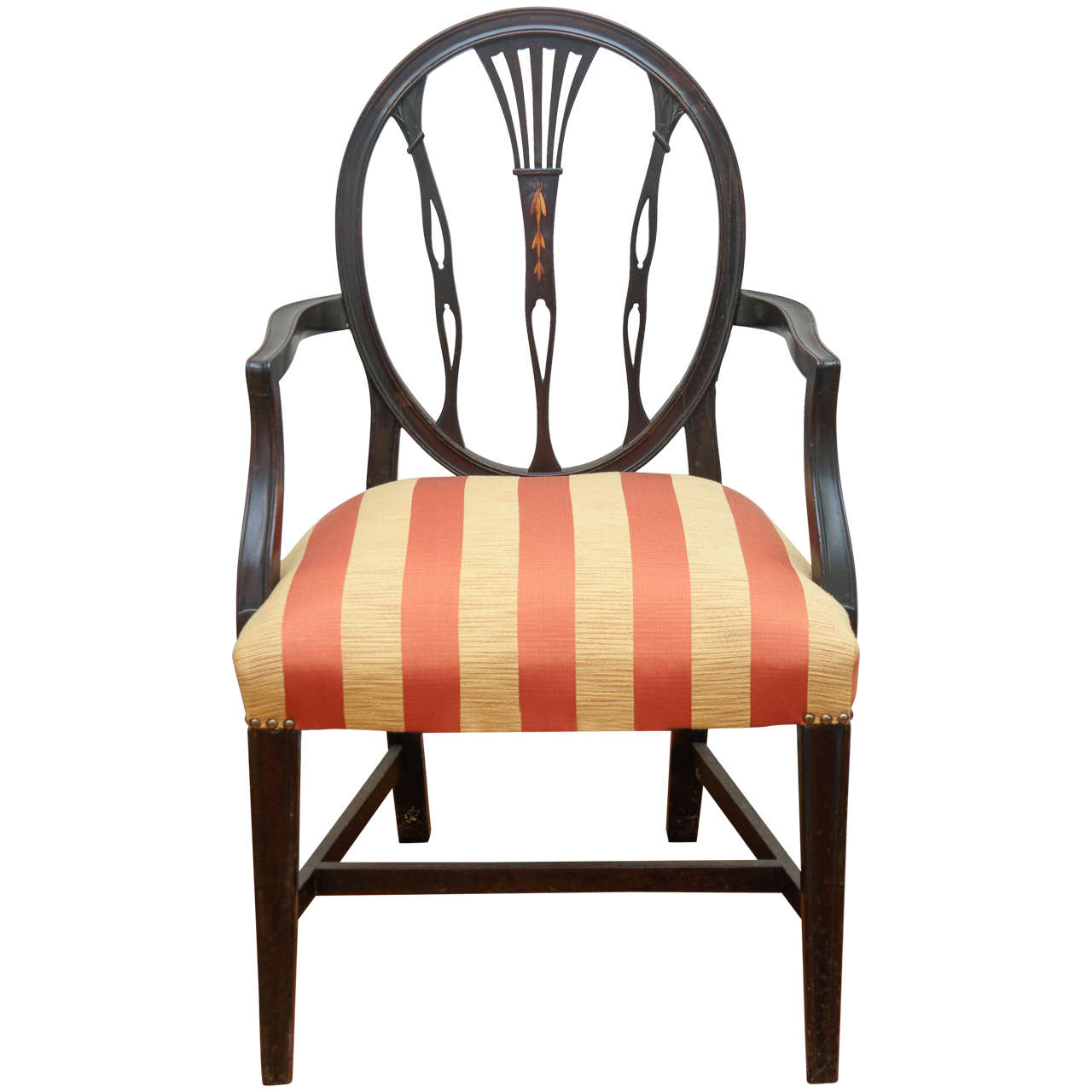 Hepplewhite-Style Ebonized Open-Armed Chair For Sale