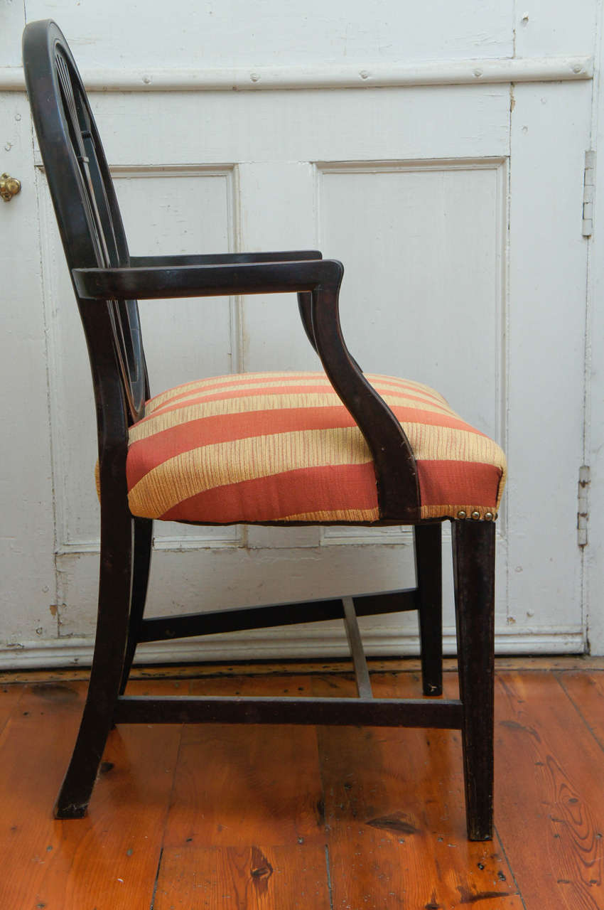 Unknown Hepplewhite-Style Ebonized Open-Armed Chair For Sale