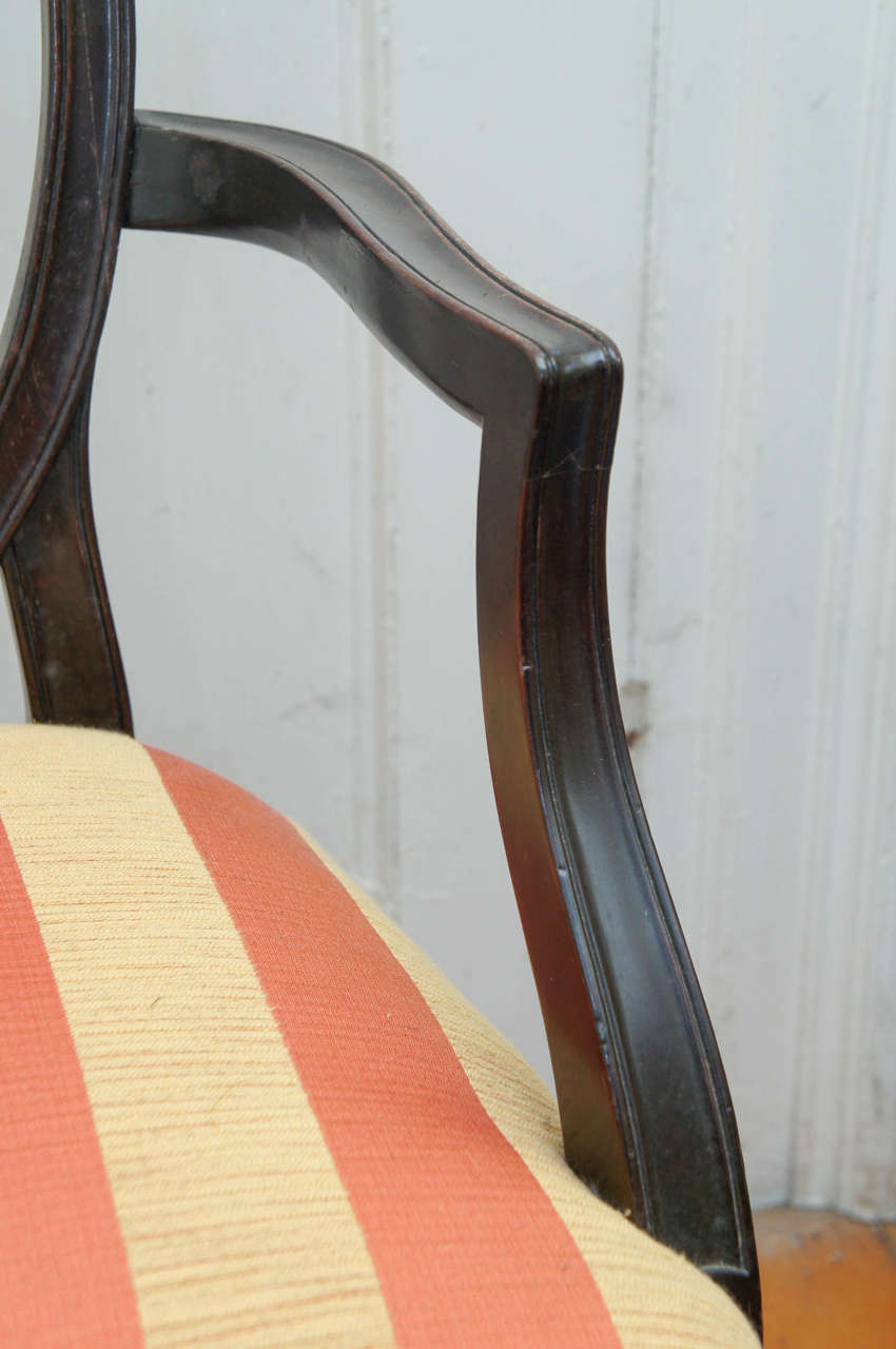 Hepplewhite-Style Ebonized Open-Armed Chair For Sale 1