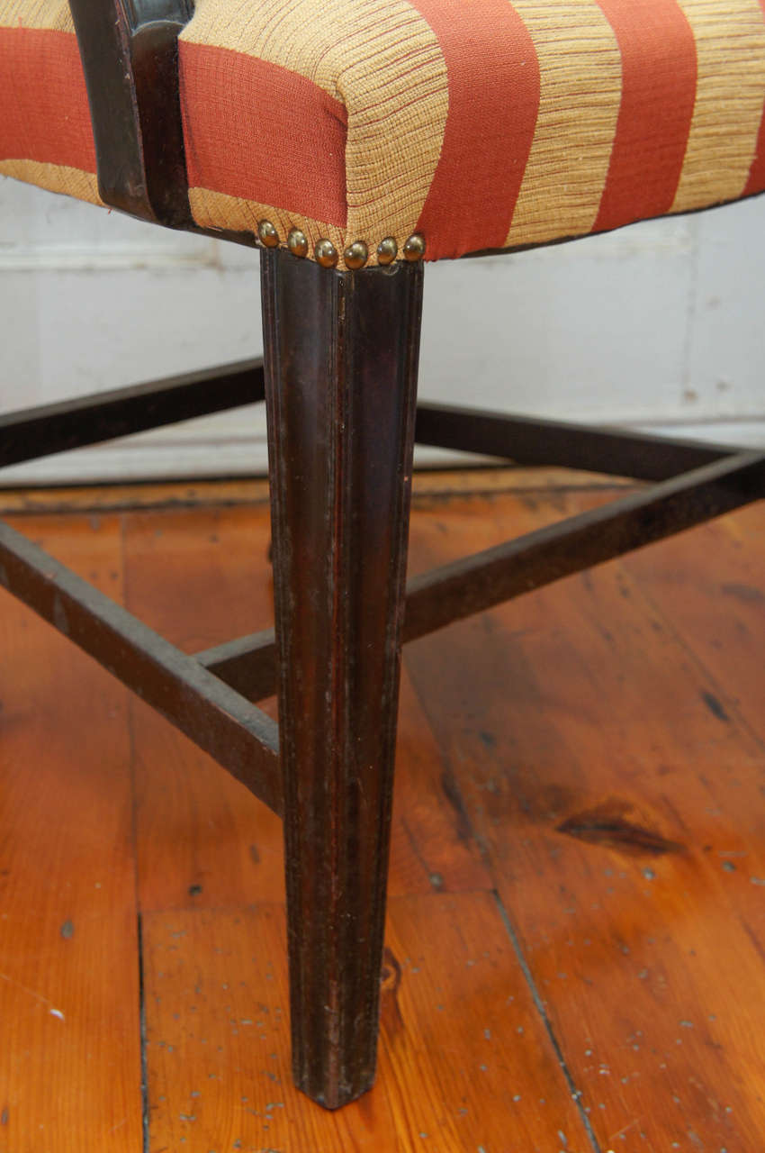Hepplewhite-Style Ebonized Open-Armed Chair For Sale 3