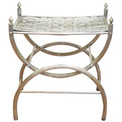 Maison Jansen-Style Silver Plated Tabouret