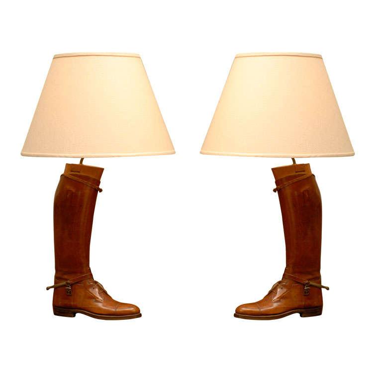 Pair of Vintage English Brown Leather Riding Boots Mounted as Table Lamps For Sale