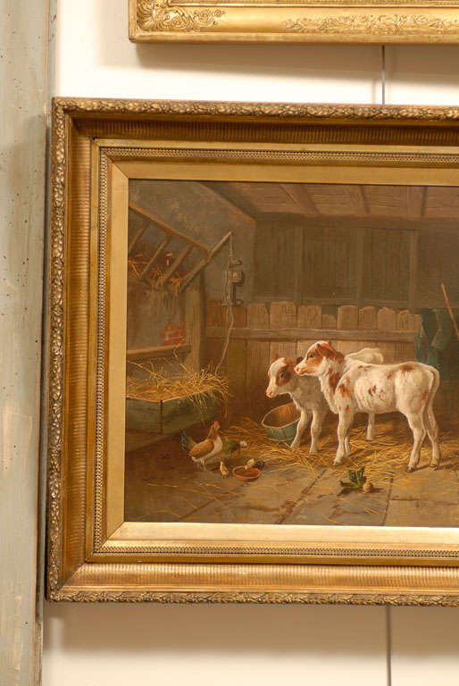 English 19th Century Oil on Canvas Farm Painting Depicting Calves and Chickens 2