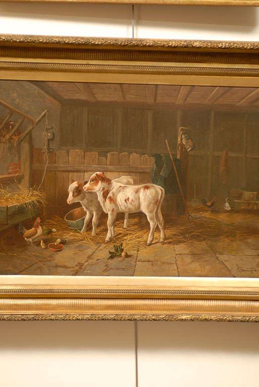 English 19th Century Oil on Canvas Farm Painting Depicting Calves and Chickens 3