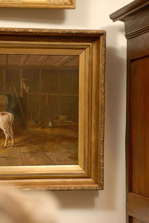English 19th Century Oil on Canvas Farm Painting Depicting Calves and Chickens 4