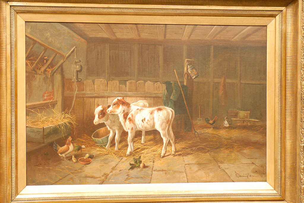 English 19th Century Oil on Canvas Farm Painting Depicting Calves and Chickens 5