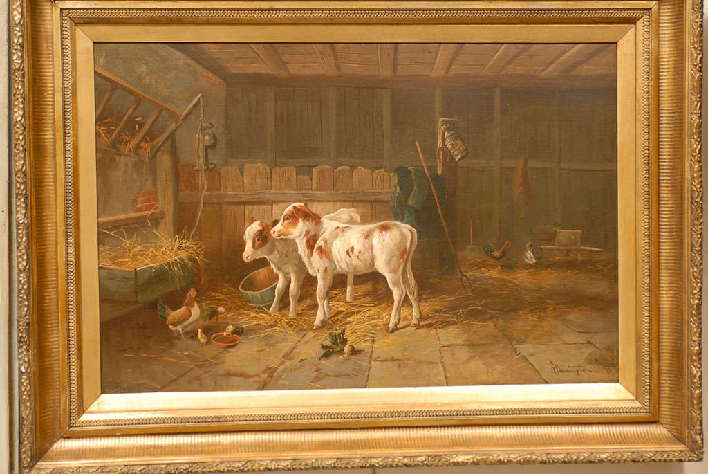 English 19th Century Oil on Canvas Farm Painting Depicting Calves and Chickens 6