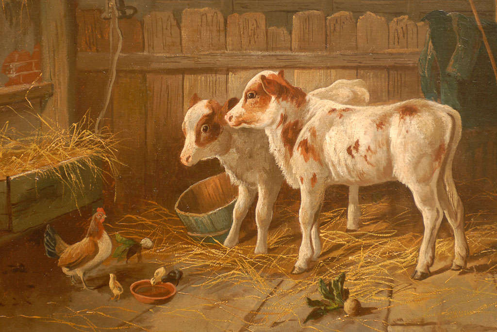English 19th Century Oil on Canvas Farm Painting Depicting Calves and Chickens 8