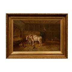 English 19th Century Oil on Canvas Farm Painting Depicting Calves and Chickens