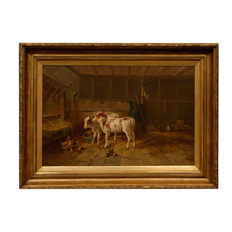 English 19th Century Oil on Canvas Farm Painting Depicting Calves and Chickens For Sale