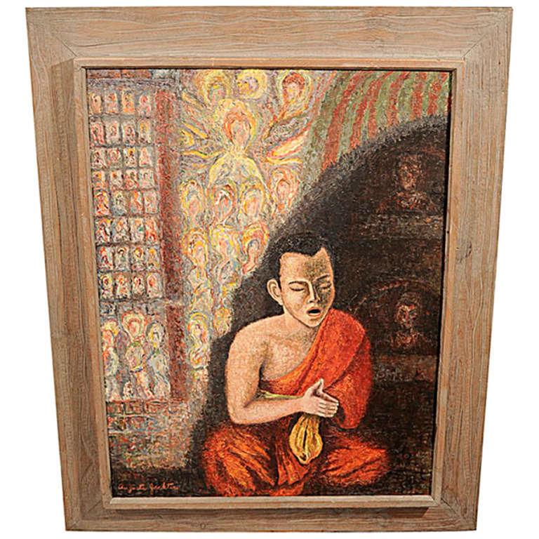 Buddhist monk painting, signed