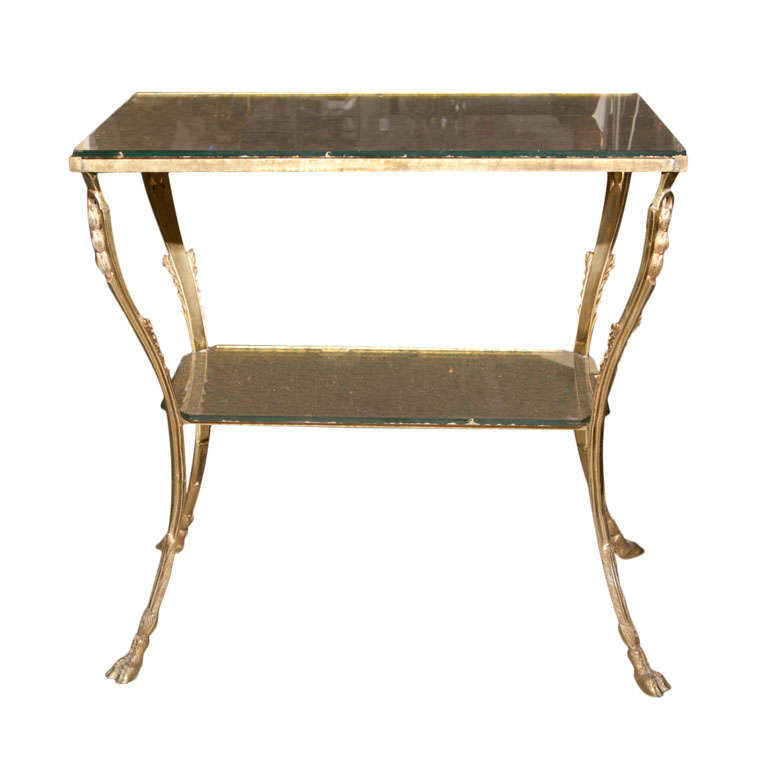Hollywood Regency  Style Glass Top Two-Tiered Bronze Stand