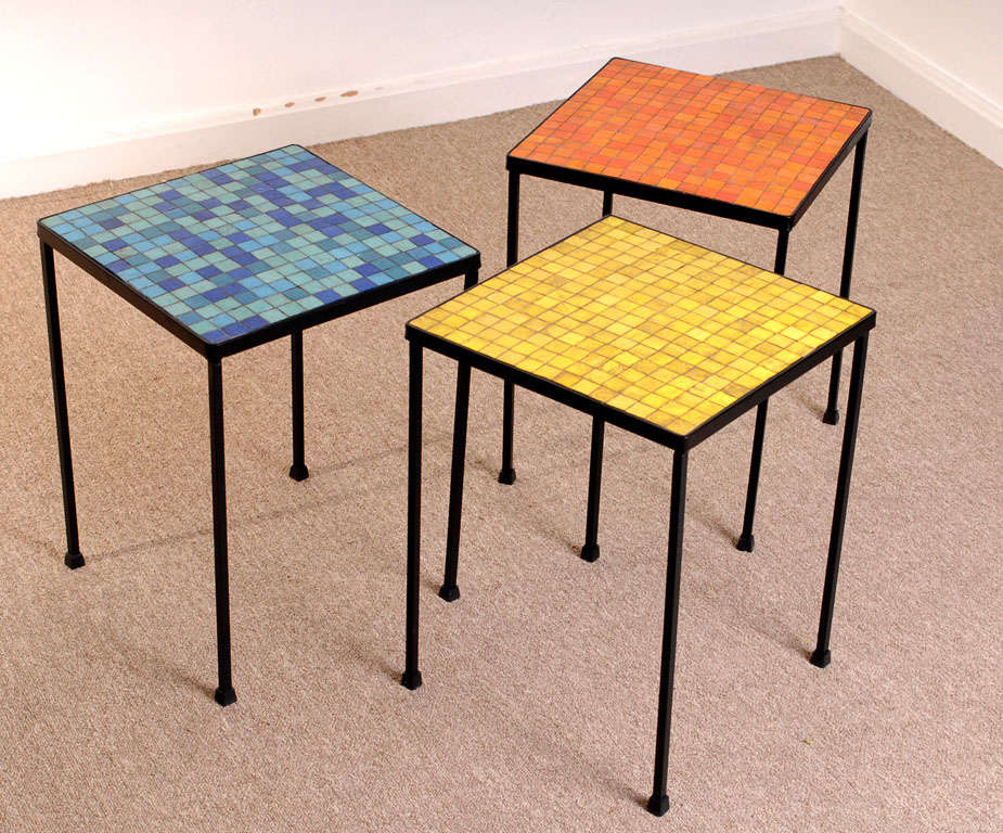 Set Of 3 Glass Tables: Set Of Three 50s Murano Glass Mosaic Tables At 1stdibs