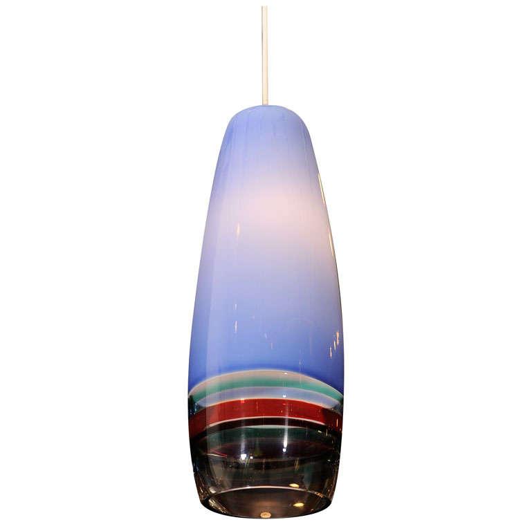 1960s Handblown Glass Venini Pendant by Massimo Vignelli