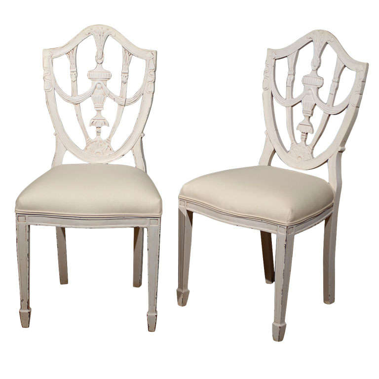 Set of Six Danish 19th Century Hepplewhite Shield Style Painted Dining Chairs