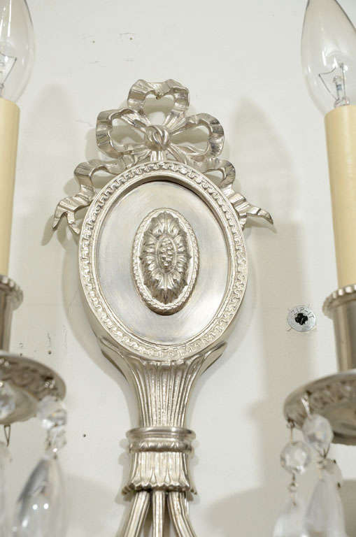 American Pair of Hollywood Brushed Nickel & Rock Crystals Sconces w/ Neoclassical Details For Sale