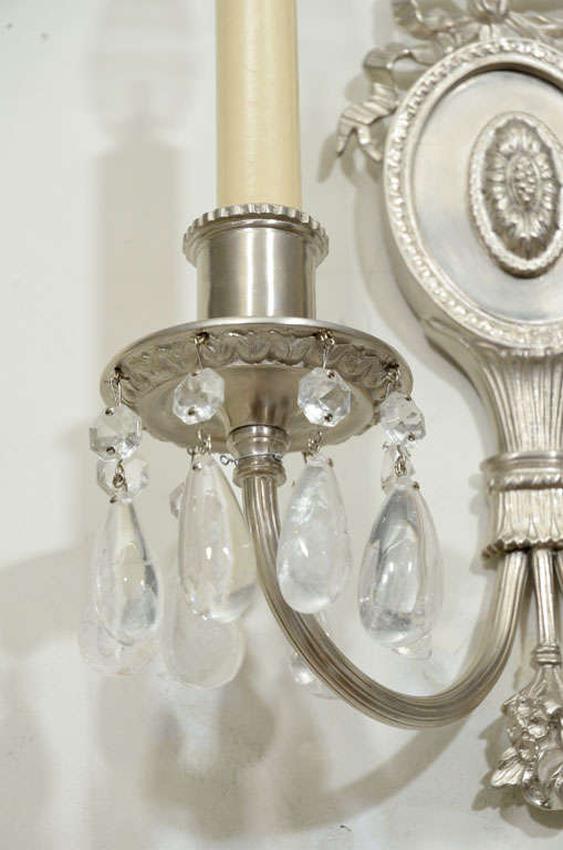 Mid-20th Century Pair of Hollywood Brushed Nickel & Rock Crystals Sconces w/ Neoclassical Details For Sale