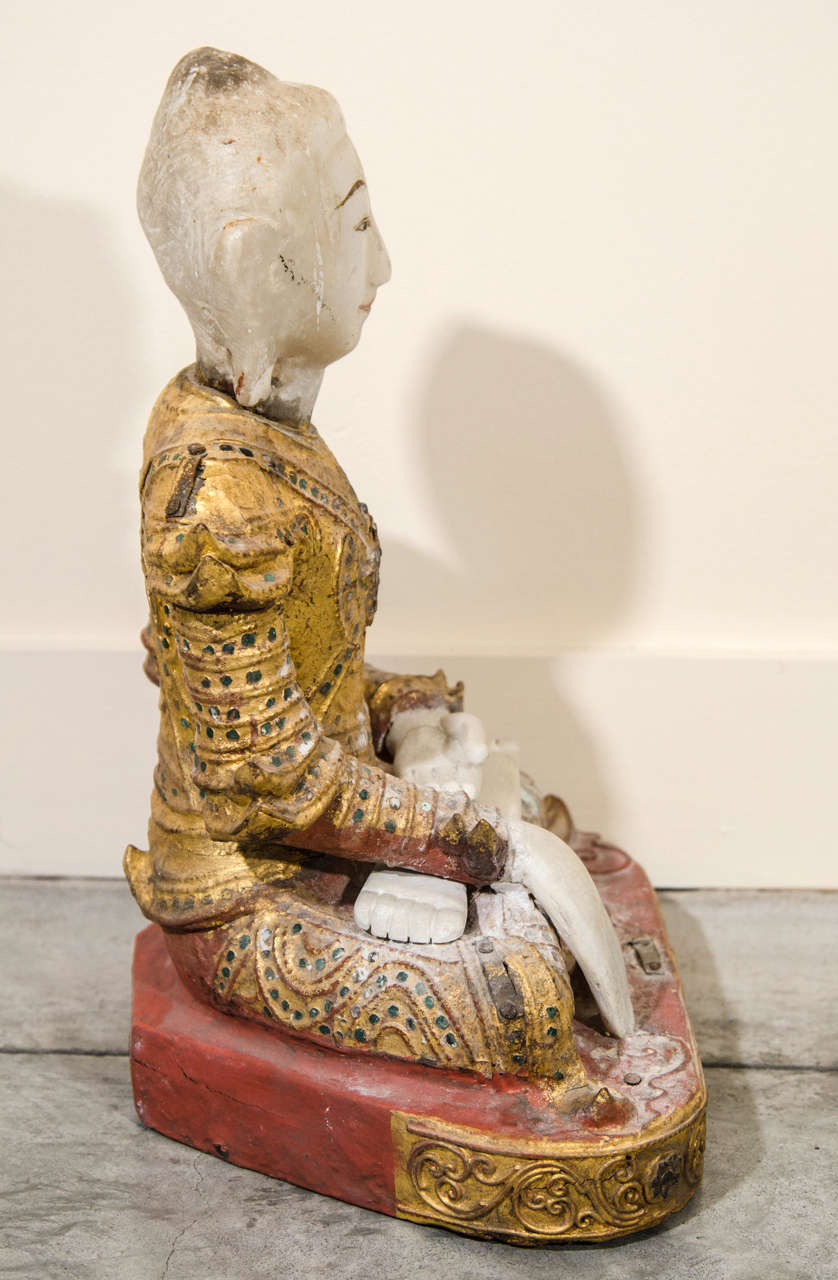 19th Century Mandalay Style Buddha With Royal Costume