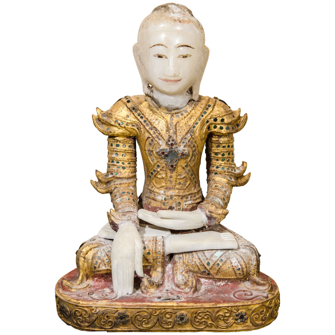 Mandalay Style Buddha With Royal Costume For Sale