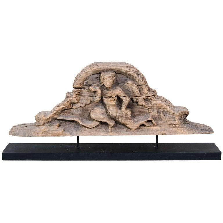 Antique Burmese Carved Lintel For Sale