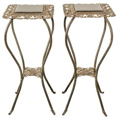 Pair of Iron Flower Stands