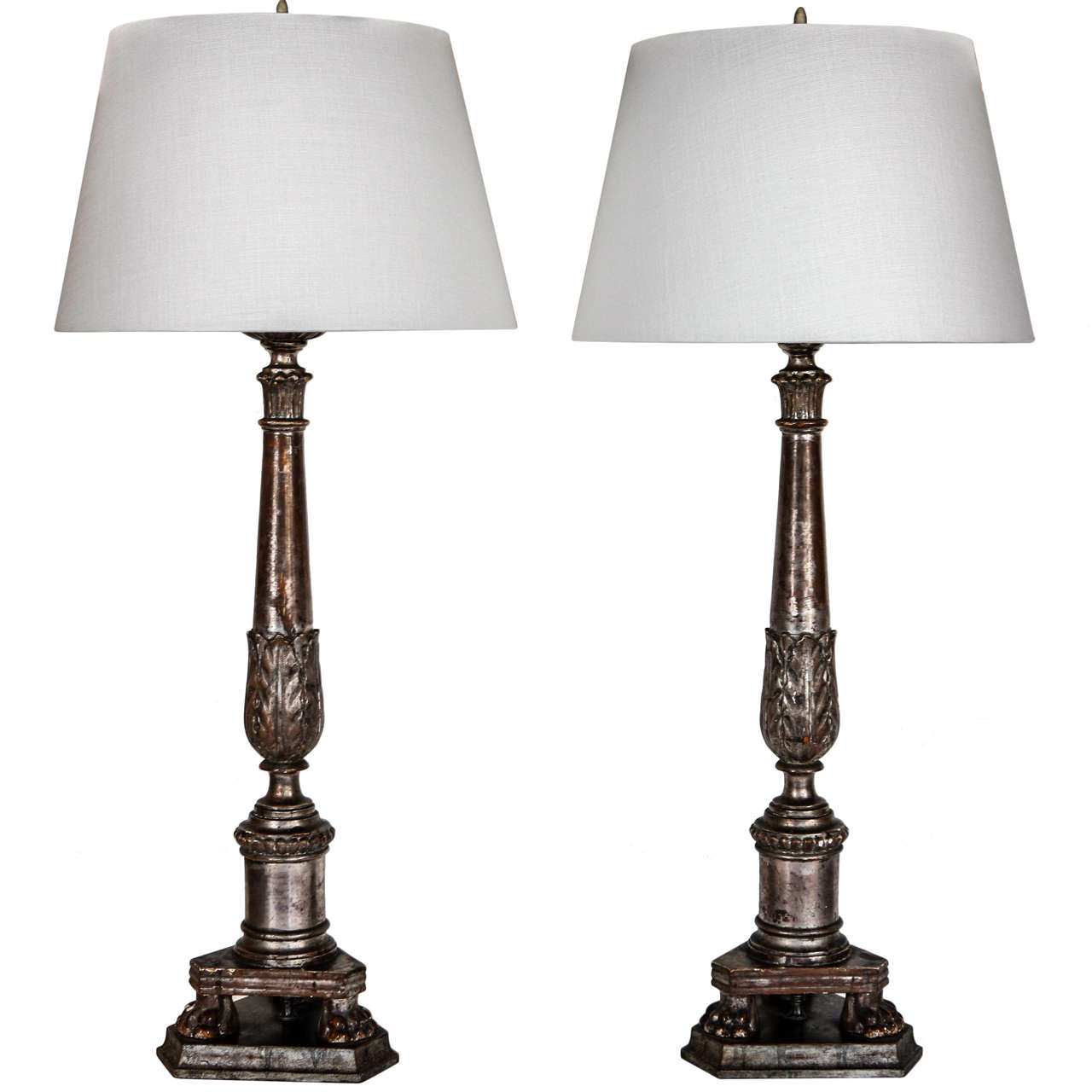 Silver Gilt Candlestick Lamps At 1stdibs