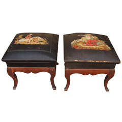 Pair of Early 20th Century Stools with Needlepoint
