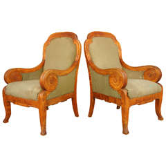 Pair of Baltic 1890s Neo-Classical Birch Bergere Chairs